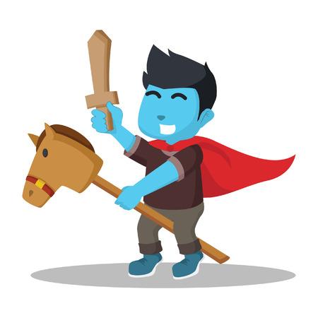 Het blauwe paard van de jongens berijdende stok en het houden van houten zwaard Stock Illustratie