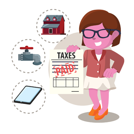 Pink businesswoman already paid taxes in stock illustration.