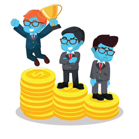 Blue businessmen winner and loser– stock illustration Illustration