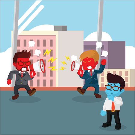 Red businessman fighting at the office stock illustration. Illustration
