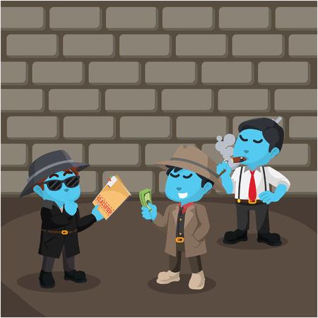 Blue bad spy selling classified files to mafia– stock illustration
