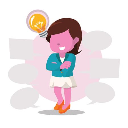 Pink businesswoman with plenty callout– stock illustration Illustration