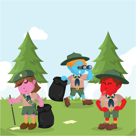 Scout working together to clean forest– stock illustration