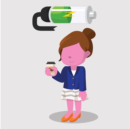 Pink businesswoman recharging battery– stock illustration