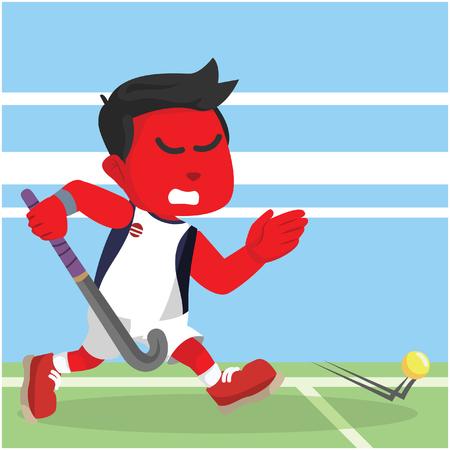 Rode hockey speler lopen bal illustratie vangen Stock Illustratie