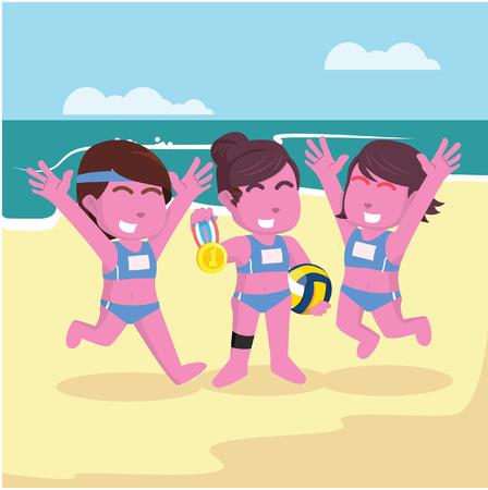 Volleyball match champion illustration design stock illustration. Illustration