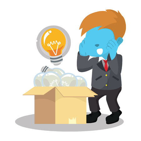 Blue businessman find a shining light bulb– stock illustration