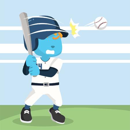 Blue baseball player hitting ball stock illustration.