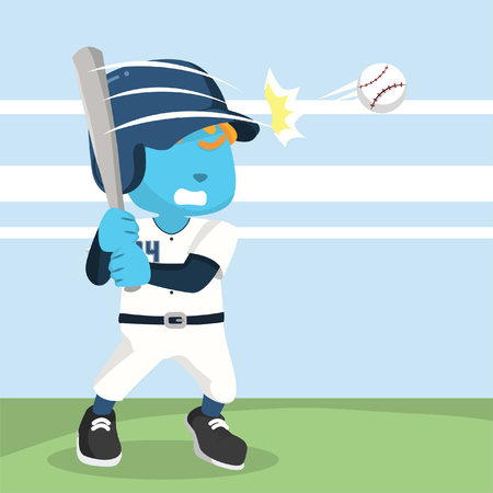 Blue baseball player hitting ball stock illustration.