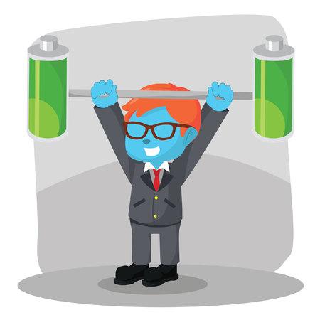 Blue businessman lifting two full batteries– stock illustration