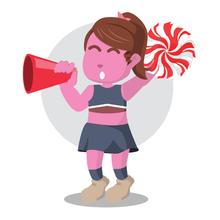 Pink cheerleader cheering with megaphone– stock illustration Ilustração