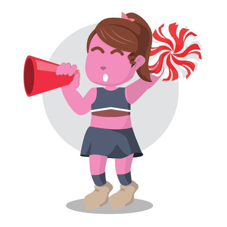 Pink cheerleader cheering with megaphone– stock illustration