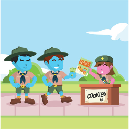 Boy scout in queue to buy cookies stock illustration. Ilustracja