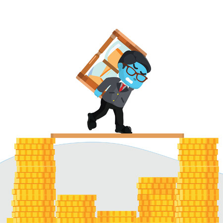 Blue businessman on top of stack of coin with hourglass stock illustration.