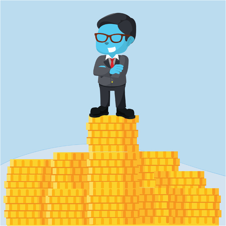 Blue businessman on top of stack of coin– stock illustration Çizim