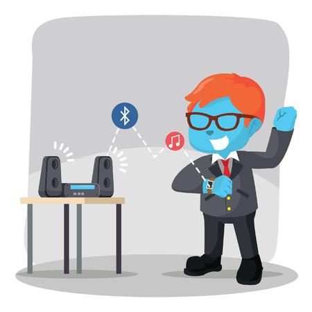 Blue businessman using smart watch to hear music– stock illustration Çizim