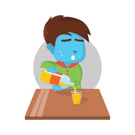 Blue boy pouring orange juice– stock illustration