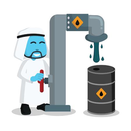 Blue arabian businessman refill his oil barrel– stock illustration