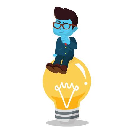 Blue businessman got an idea lighbulb– stock illustration Illustration