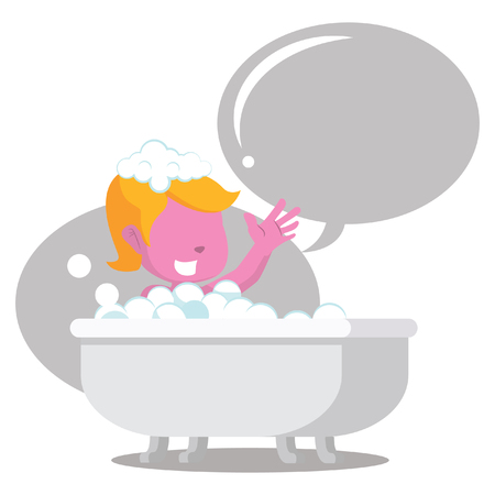 Pink girl in bathtub cheerful with callout– stock illustration Illustration