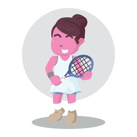 Pink female tennis player colorful– stock illustration Çizim