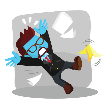 Blue businessman slipped by banana peel stock illustration.