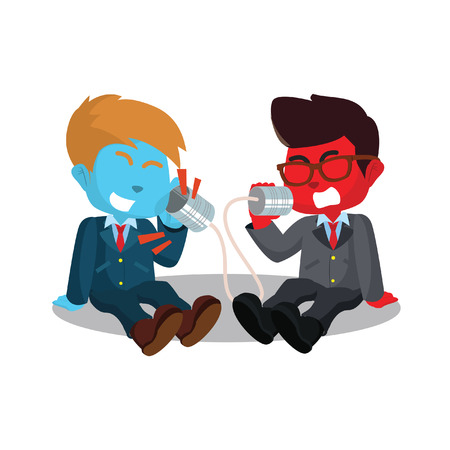 Two businessmen shouting on can phone stock illustration.