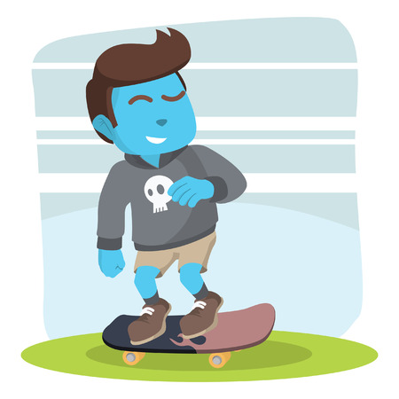 Blue skater boy speeding up– stock illustration