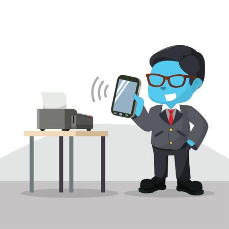 Blue businessman connect smartphone mobile payment device– stock illustration