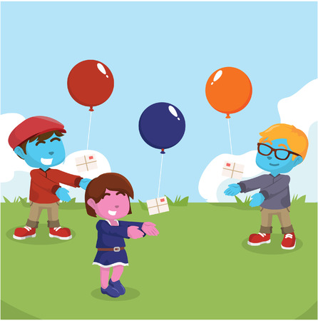 Kids releasing balloon with letter to the air stock illustration.