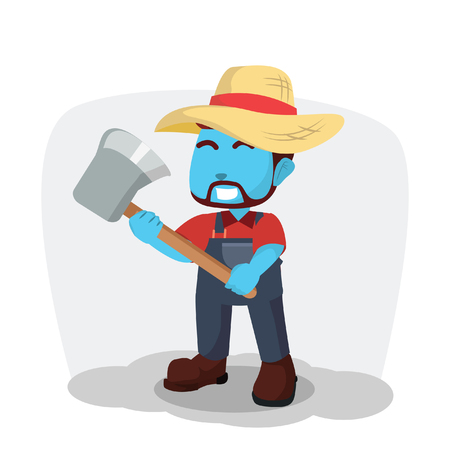 Blue farmer holding axe– stock illustration