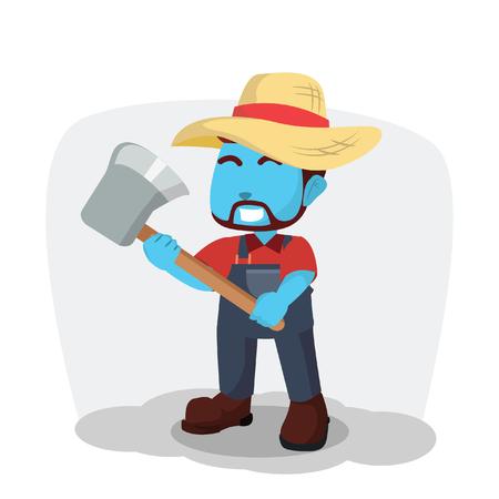 Blue farmer holding axe– stock illustration Illustration