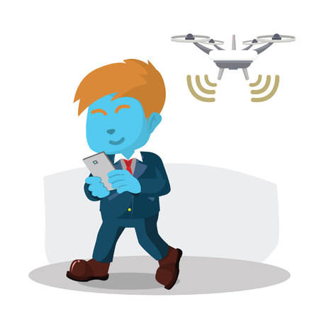 Blue businessman using wifi on drones stock illustration.