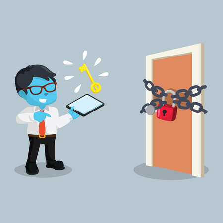 Blue businessman with locked door stock illustration.