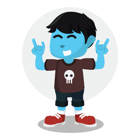 Blue blue rocker boy with hand stock illustration.