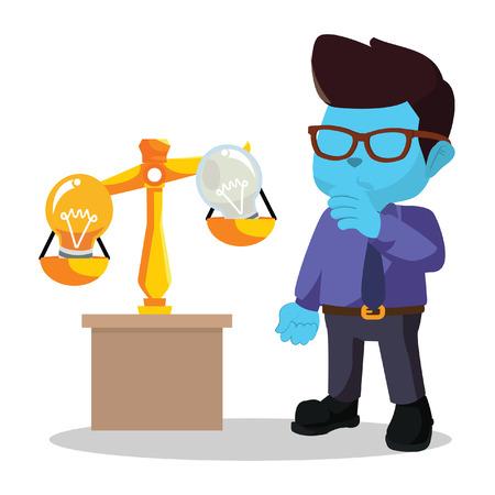 Blue businessman scaling idea bulb stock illustration. Illustration