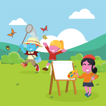 Blue boy and pink girl catching butterfly while being painted Illustration