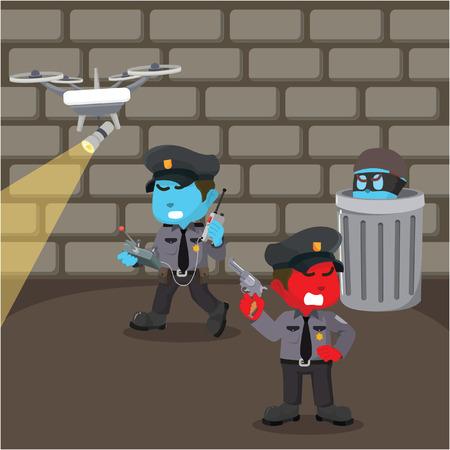 Groep van politie op zoek naar dief stock illustratie