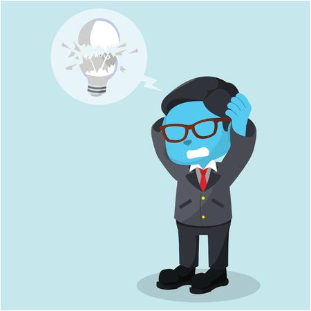 Blue businessman got his bulb broken stock illustration. Illustration