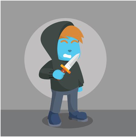 Blue criminal holding knife in stock illustration.