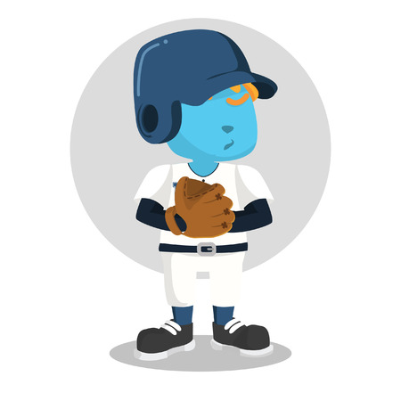Blue baseball player with glove– stock illustration