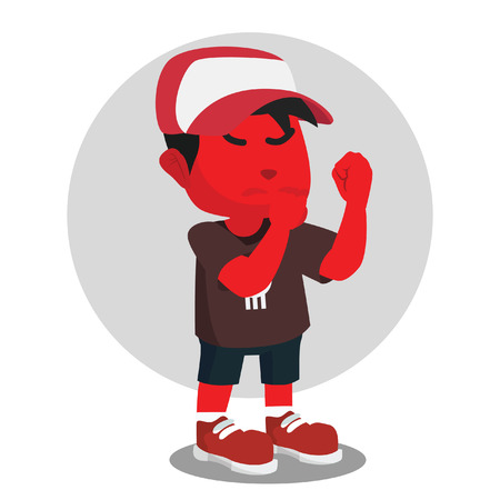 Red boy going to fight stock illustration. Illustration