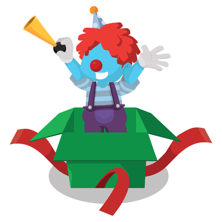 Blue clown surprise from box– stock illustration