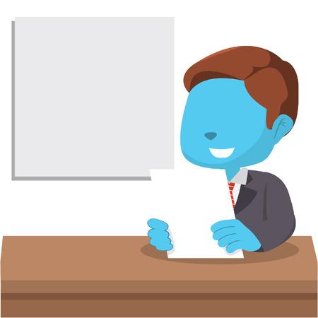 Blue boy news anchor stock illustration.