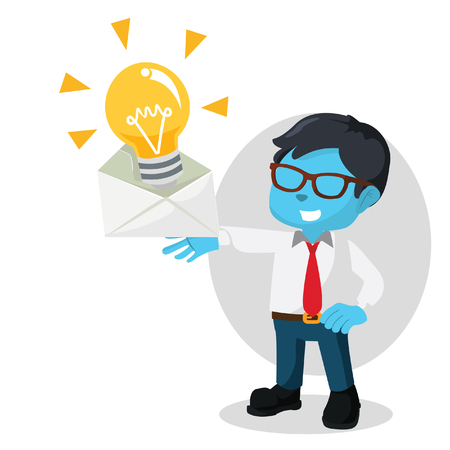Blue businessman getting innovation mail– stock illustration