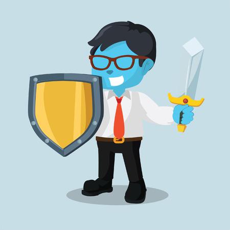 Blauwe zakenman met zwaard en schildvoorraadillustratie.