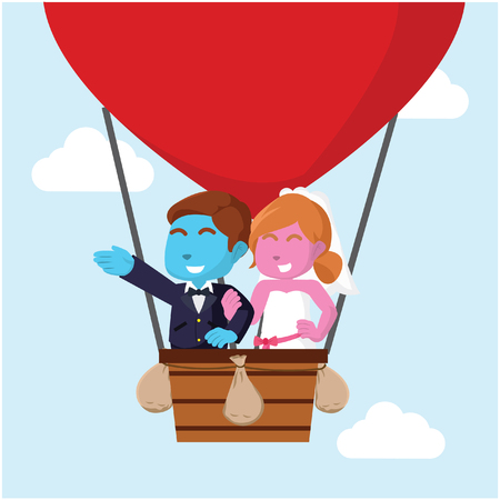 Blue and pink married couple flying with air balloon