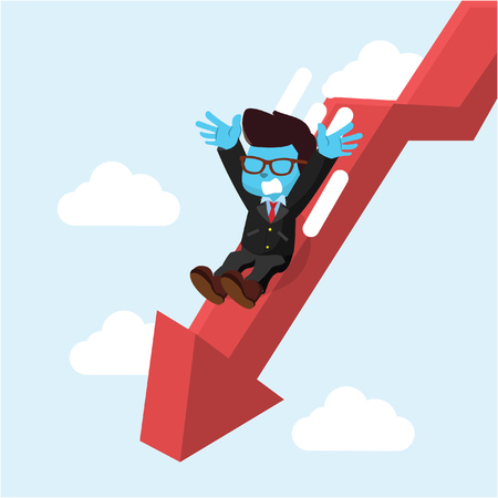 Blue businessman slide down graphic– stock illustration