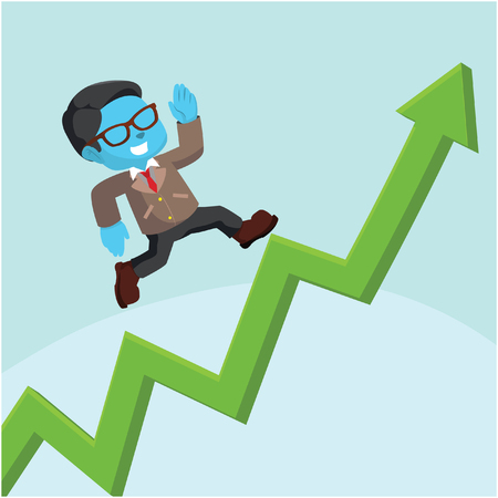 Blue businessman running up on a graph stock illustration.
