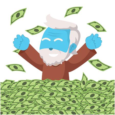 Blue grandpa enjoy his retired money– stock illustration